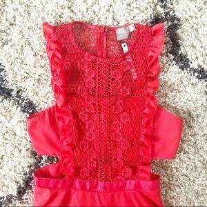 red laser cut asos dress